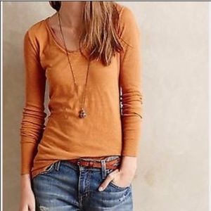 Anthropologie Pure + Good Burnt Orange Long Sleeve